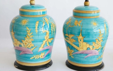 Pair of Turquoise Ground Ceramic Lamps with Yellow Chinoiserie Decorations