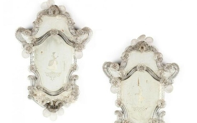 Pair of Venetian Mirrors with Sconces