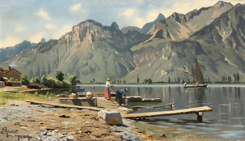 Peder Mønsted: Washerwomen on the shore of Lake Geneva. Signed and dated P. Mønsted 1889. Oil on canvas. 24×41 cm.