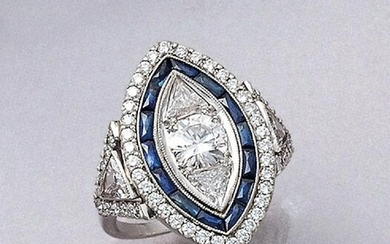 Platinum ring with sapphires and diamonds, 1940s