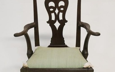 Queen Anne Mahogany Open Armchair