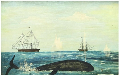 R. Costa Oil on Panel Folk Art Whale with Ships