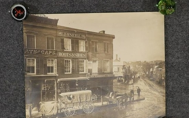Reid 1878 Photograph Horse Drawn Wagon at Country Store