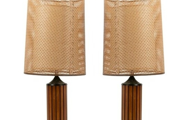 Ribbed Wooden Lamps - Pair
