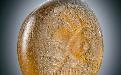 Roman Glass Intaglio with Portrait of Man
