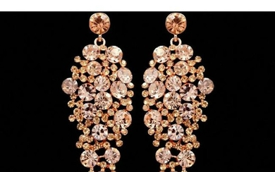 Rose Gold Peach Crystal Rhinestone Costume Drop Dangle