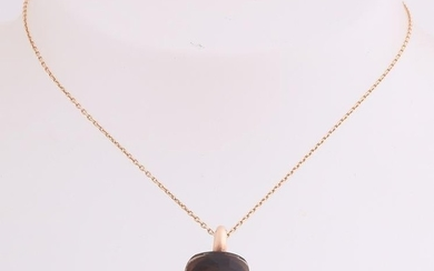 Rose gold necklace with pendant, 585/000, with smoky