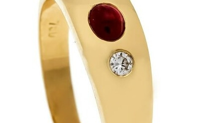 Ruby-diamond ring GG 750/000 with an oval ruby cabochon