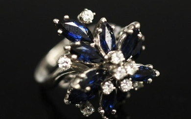 SAPPHIRE AND DIAMOND 14KT RING