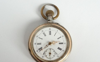 SILVER AND ROSE GOLD POCKET WATCH