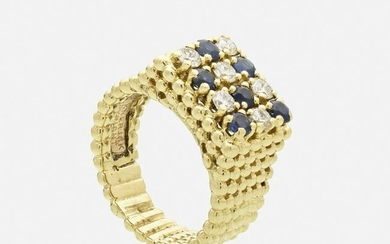 Sapphire, diamond and yellow gold ring