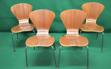 Set of four 1950's Danish bent ply dining chairs with shaped...