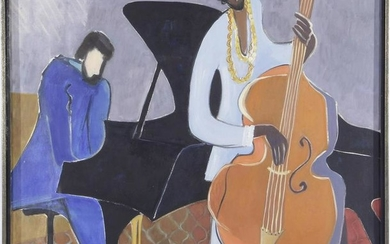 Signed Haibach, Pianist and cellist, canvas dated 1974
