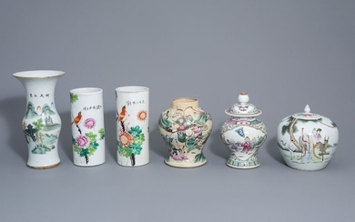 Six Chinese qianjiang cai and famille rose vases,...