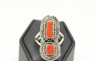 Sterling Silver Native American Navajo Coral Ring