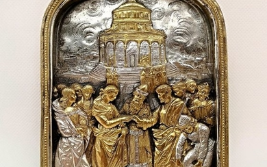 Superb embossed plaque with Renaissance subject - .925 silver, Silver gilt - First half 20th century