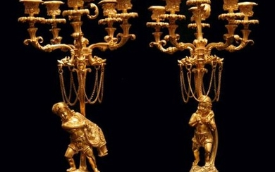 TWO CANDELABRA, FRENCH ANTIQUE GOLD PLATED BRONZE