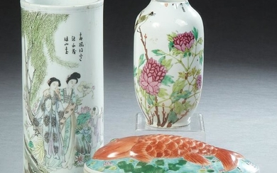 Three Oriental Porcelain Items, 20th c., consisting of