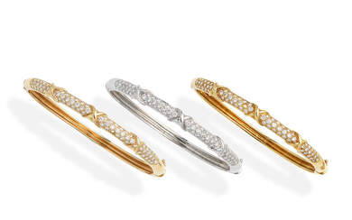 Three diamond bangles