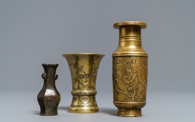 Three small Chinese bronze vases, Song and Qing...