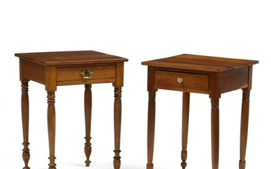 Two American Sheraton Cherry One Drawer Tables