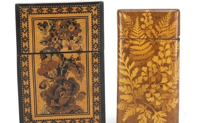 Two Victorian calling card cases including a Tunbridge