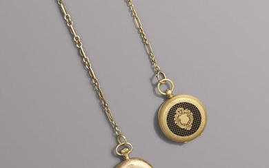 Two pocket watches on chains