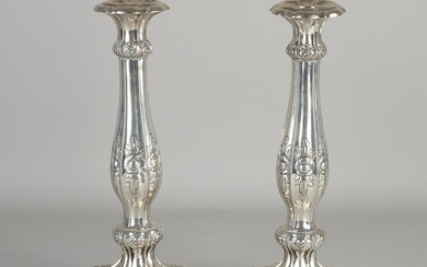 Two silver candlesticks, 13 löth, 812/000, on a
