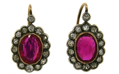 Victorian Ruby Diamond Silver Gold Drop Stud Cluster