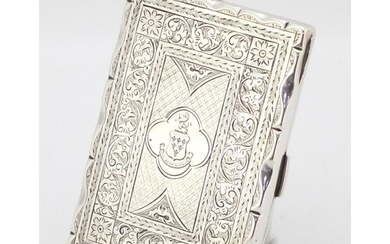 Victorian silver aide memoire with leather interior and ivor...