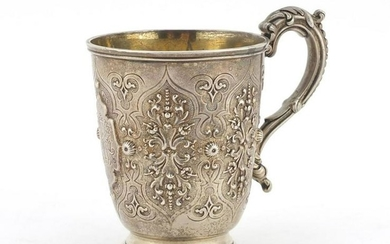 Victorian silver tankard by George Fisher, embossed