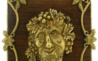 Vintage 1970s WOOD YELLOW GOLD BACCHUS HEAD PIN PENDANT