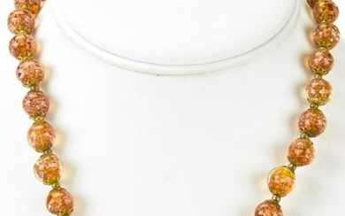Vintage Italian Murano Glass Gold Fleck Necklace