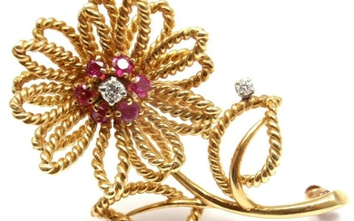 Vintage Tiffany & Co 14k Yellow Gold Diamond Ruby