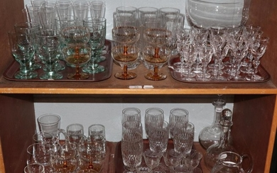 Waterford crystal glassware; together with two decanters; Dartington crystal bowl;...