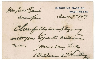 William McKinley Autograph Letter Signed