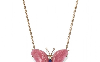 YELLOW GOLD AND GEM-SET NECKLACE