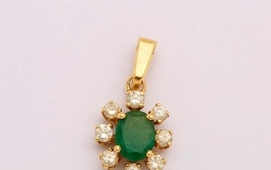 Yellow gold pendant decorated in the centre with...