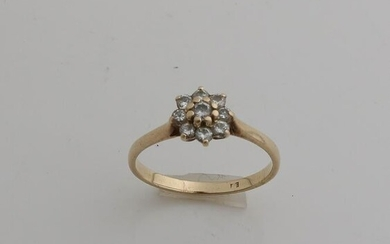 Yellow gold rosette ring, 585/000, with diamond.