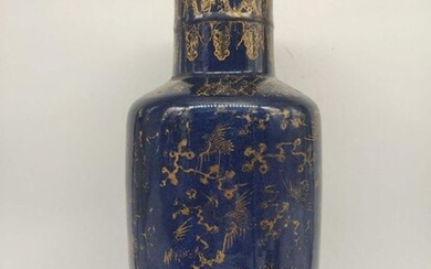 """bangcui"" vase - blue powder - Porcelain - Crane, Phoenix - China - 19th century"