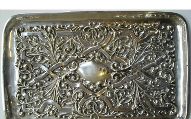 ornate 1912 sterling silver tray by Williams of Birmingham ...