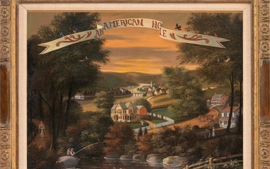 """AMERICAN SCHOOL, Late 19th/Early 20th Century, """"An American Home""""., Oil on canvas, 18"""" x 24"""". Framed 23"""" x 29""""."""