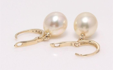 14 kt. Yellow Gold - 9x10mm Golden South Sea Pearl