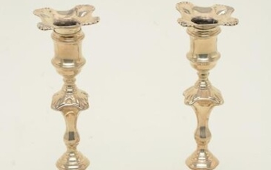 18th century Georgian sterling silver candlesticks with