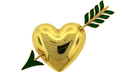1950 Van Cleef & Arpels VCA Enamel Yellow Gold Heart
