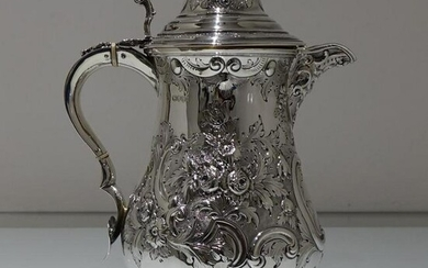 19th Century Antique Victorian Sterling Silver Flagon