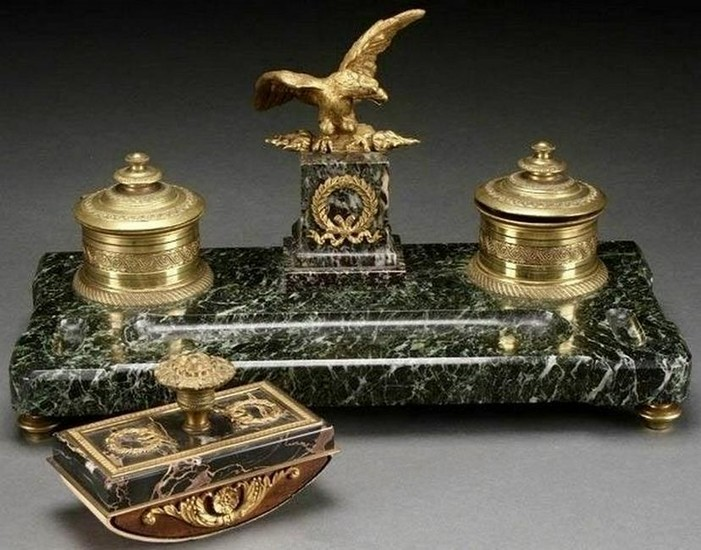 19th Century Empire Style Gilt Bronze and Marble