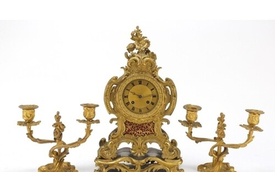 19th century French Ormolu acanthus design mantle clock with...