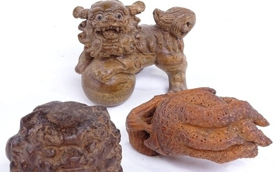 3 Japanese carved wood dragon and plant design netsuke, incl...