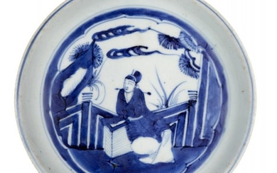 A Chinese porcelain dish, 17th century, with...